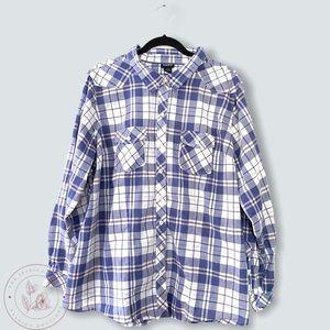 Torrid Cotton Blue Plaid Button Down Shirt Size 3